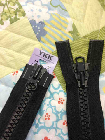 YKK Vislon Two-Way Open End Zip 76cm 30inch: Black (580)