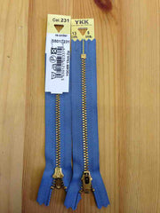 YKK Brass Jeans Zip 13cm 5inch Airforce Blue (231)