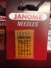 Janome Ball Point Needles UK Size Assorted 11 & 14 - Metric Size 75/90 (15x1SP)