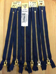 YKK Brass Jeans Zip 18cm 7inch Dark Navy (560)