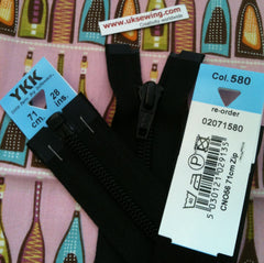 YKK Nylon Open End Zip 71cm 28inch: Black (580)