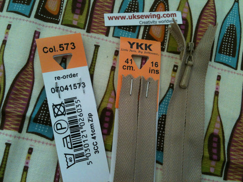 YKK Concealed Zip 41cm 16inch: Fawn (573)