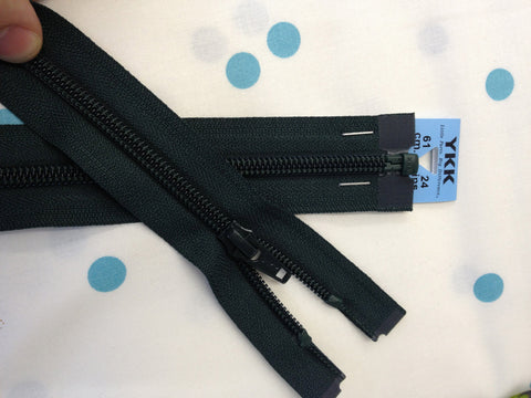 YKK Nylon Open End Zip 61cm 24inch: Forest Green (890)