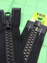 YKK Vislon Open End Zip 61cm 24inch Black (580)