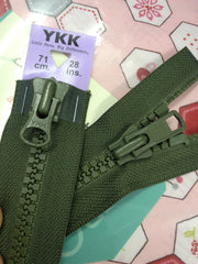YKK Vislon Two-Way Open End Zip 71cm 28inch: Khaki (566)