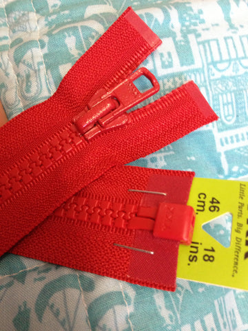 YKK Vislon Open End Zip 46cm 18inch Red (519)