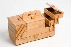 Light Wood Cantilever Workbox Large With Draw Uk Sewing