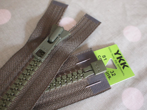 YKK Vislon Open End Zip 81cm 32inch Khaki (566)