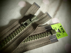 YKK Vislon Open End Zip 66cm 26inch Khaki (566)