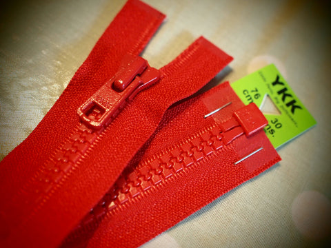 YKK Vislon Open End Zip 76cm 30inch Red (519)