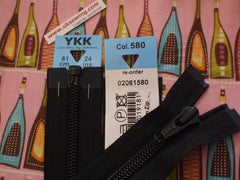 YKK Nylon Open End Zip 61cm 24inch: Black (580)