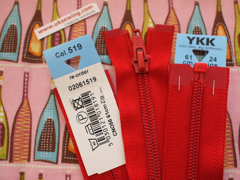 YKK Nylon Open End Zip 61cm 24inch: Red (519)