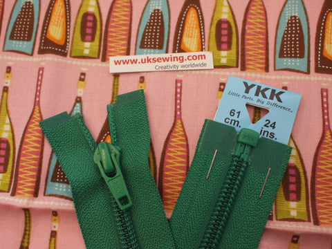 YKK Nylon Open End Zip 61cm 24inch: Emerald (152)