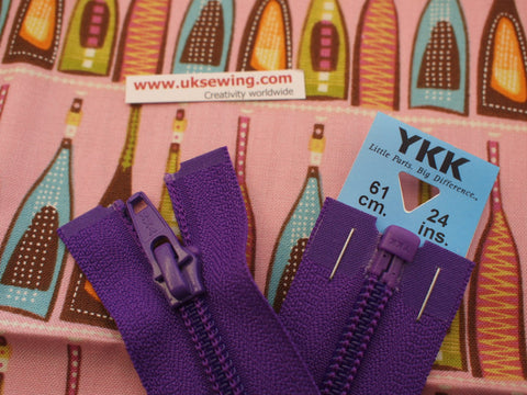 YKK Nylon Open End Zip 61cm 24inch: Purple (218)