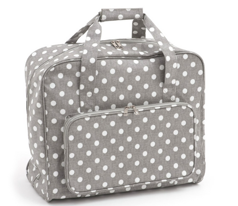 Sewing Machine Bag,carry case Hobby Gift Matt Grey Linen Polka Dot MR4660/268