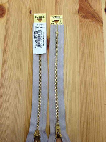 Slate Blue YKK Brass Jeans Zip Closed End Heavy Duty 10cm,13cm,15cm,18cm,20cm