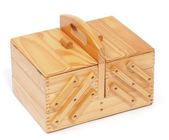 3 tier wooden sewing craft box Dovetail Joints, Vintage