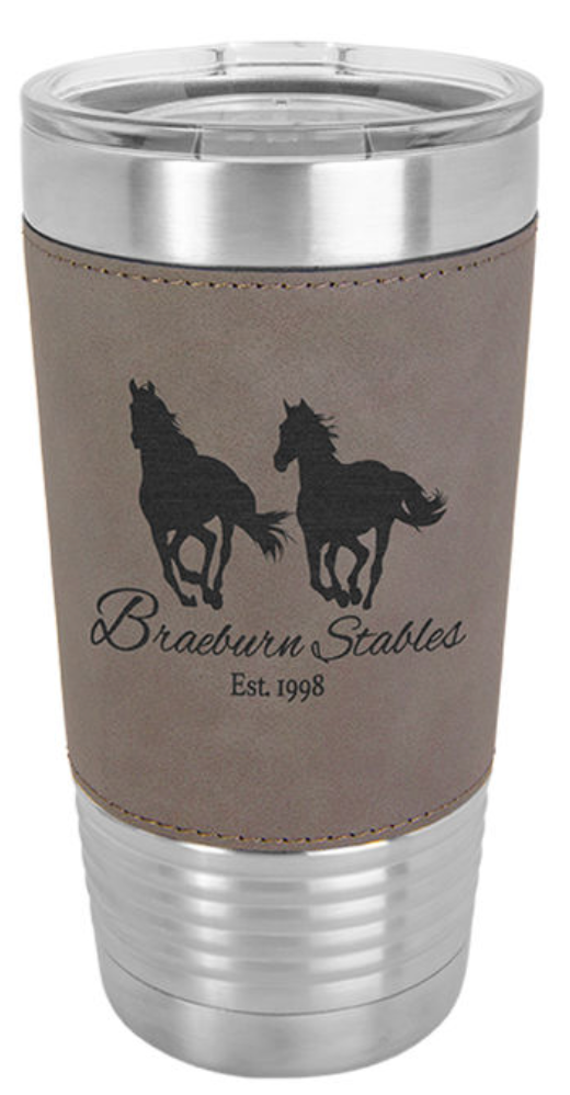 20 oz. Tumbler with Leatherette Wrap &  Lid