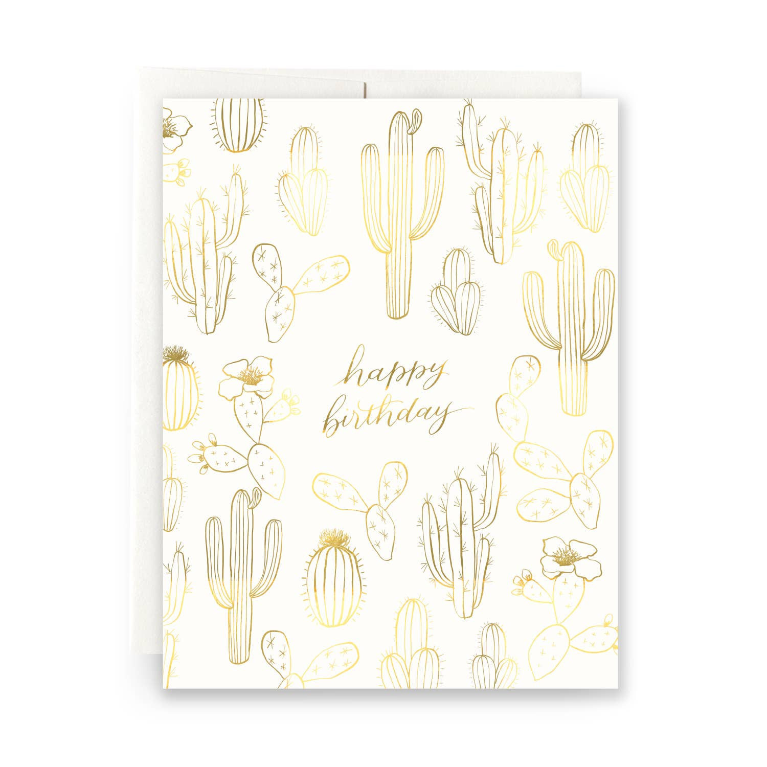 Gilded Cactus Birthday Greeting Card