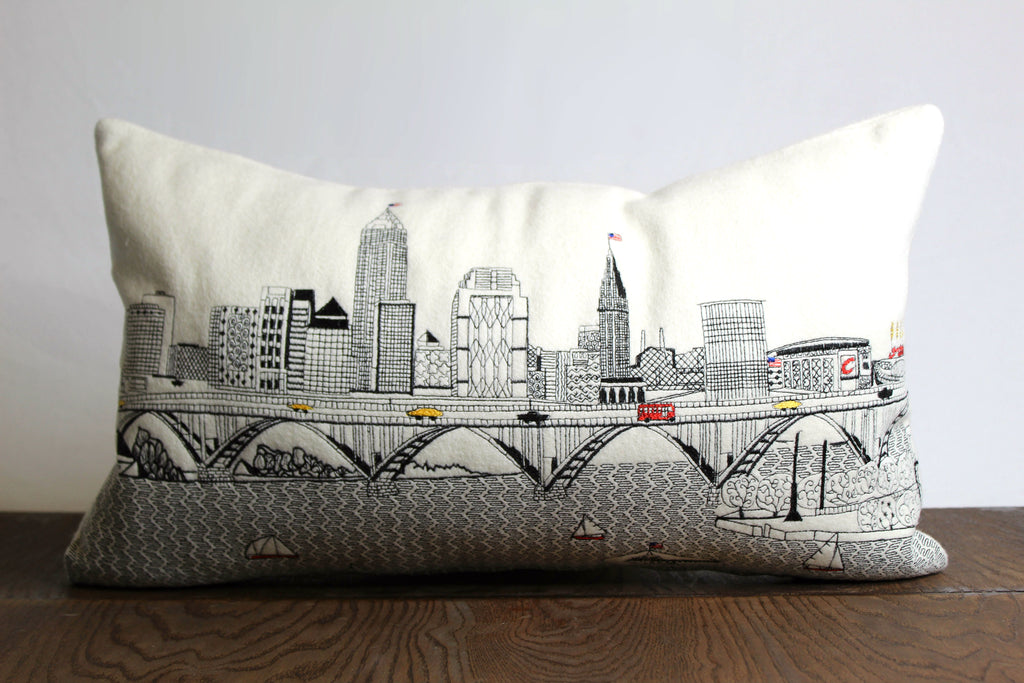 Cream Hand-Embroidered Cleveland Skyline Pillow