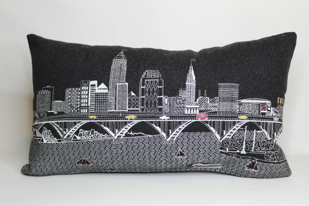 Grey Embroidered Cleveland Skyline Pillow