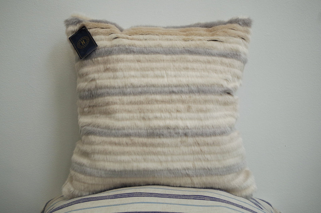 Faux Fur Beige & Light Blue Pillow