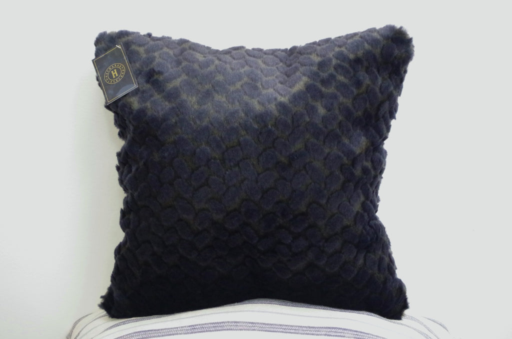 Navy Faux Fur Pillow
