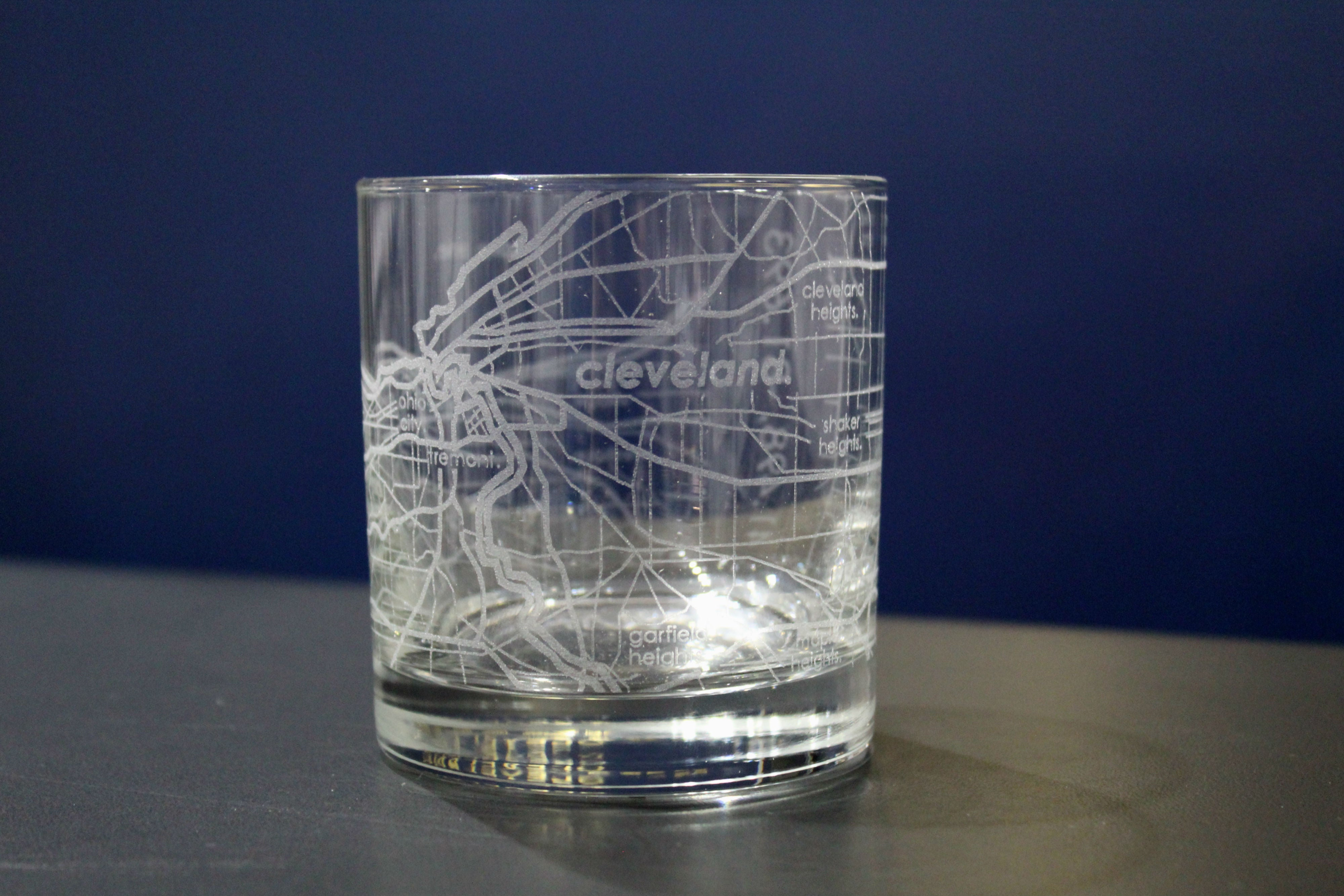 Cleveland Map Rocks Glass