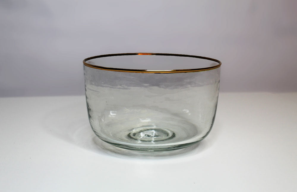 Gold Rim Glass Bowl