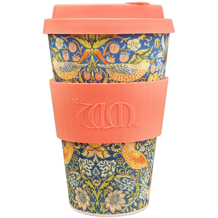 Ecofee Cup Bambus - William Morris Thief Med Oransje Silikon