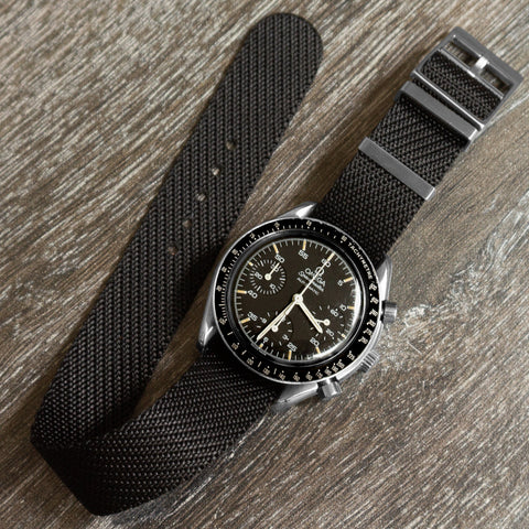 Cheapestnatostraps Chevron Adjustable single pass strap black omega speedmaster speedytuesday klocksnack rolex patek philippe JLC rubber strap
