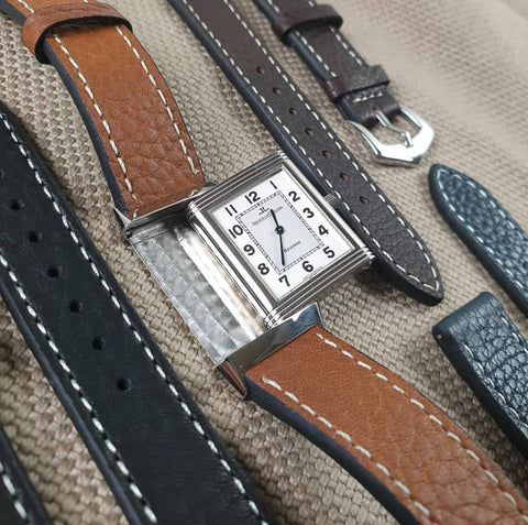 Cheapestnatostraps  JLC reverso leather watch strap odd sizes Premium Classic Marine Nationale Paratrooper vintage man style leather goods