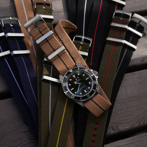 Cheapestnatostraps Elastic Single Pass Rolex Submariner watch straps Khaki Navy leather Marine Nationale Paratrooper