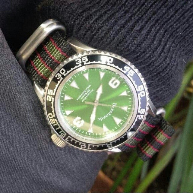 "Extra Long Zulu strap SS 5-ring Black, Red and Green ""James Bond"" - Cheapest NATO Straps  - 3"