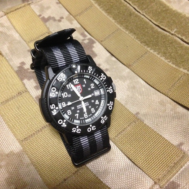"Extra Long PVD NATO Strap Black and Gray ""James Bond"" - Cheapest NATO Straps  - 9"