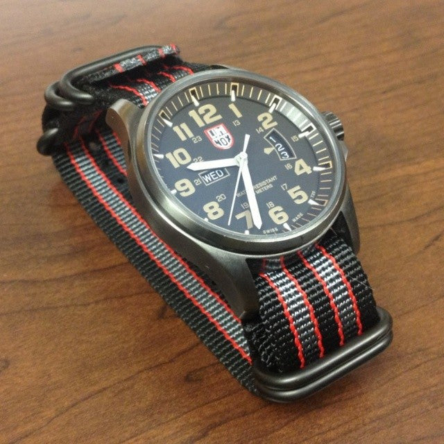 "PVD Zulu Strap 5-ring Black, Red and Gray ""James Bond"" - Cheapest NATO Straps  - 3"