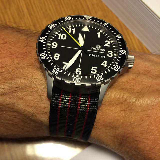 "Extra Long PVD Zulu Strap 5-ring Black, Red and Green ""James Bond"" - Cheapest NATO Straps  - 6"