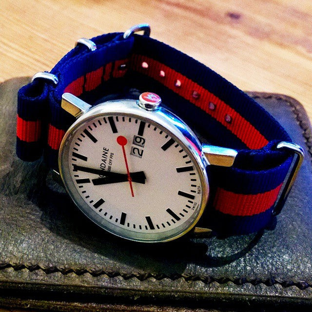 Extra Long Premium NATO strap Navy and Red - Cheapest NATO Straps  - 8