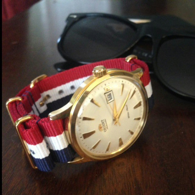 Gold premium NATO Strap Red, White and Navy - Cheapest NATO Straps  - 3