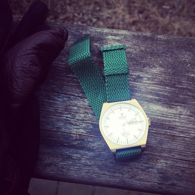 Gold Perlon strap green - Cheapest NATO Straps  - 14