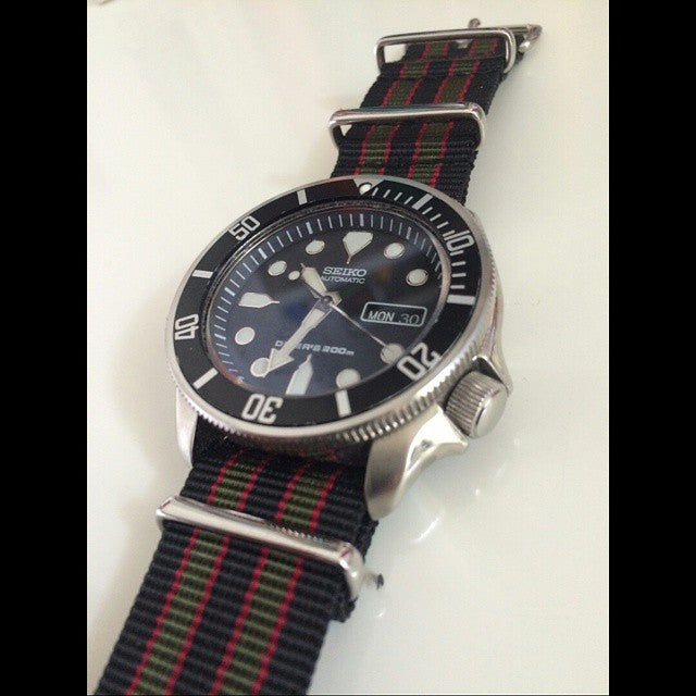 Extra Long Premium NATO strap Black, Red and Green James Bond striped - Cheapest NATO Straps  - 5