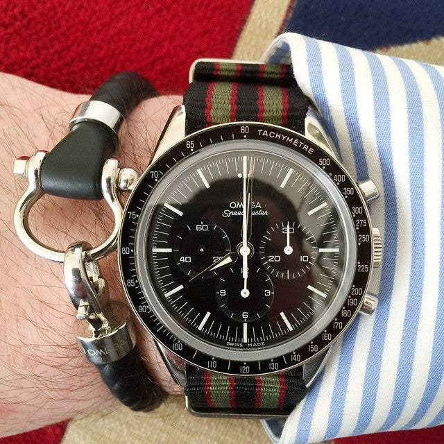 Extra Long Premium NATO strap Black, Red and Green James Bond striped - Cheapest NATO Straps  - 7