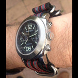 Zulu strap SS 5-ring Black, Red and Gray