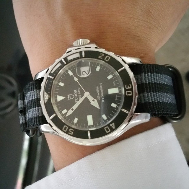 "Extra Long PVD Zulu Strap 5-ring Black and Gray ""James Bond"" - Cheapest NATO Straps  - 6"