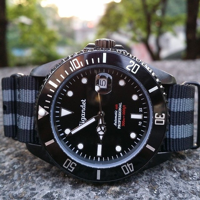 "Extra Long PVD NATO Strap Black and Gray ""James Bond"" - Cheapest NATO Straps  - 10"
