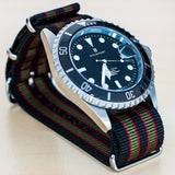 Extra Long Premium NATO strap Black, Red and Green James Bond striped - Cheapest NATO Straps  - 3