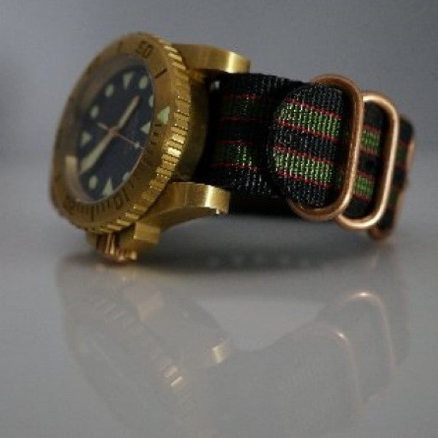 "Bronze Zulu strap 5-ring Black, Red and Green ""James Bond"" - Cheapest NATO Straps  - 4"