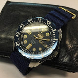 Gold Perlon strap navy blue - Cheapest NATO Straps  - 5
