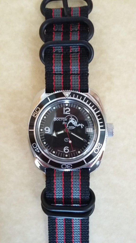 "PVD Zulu Strap 5-ring Black, Red and Gray ""James Bond"""