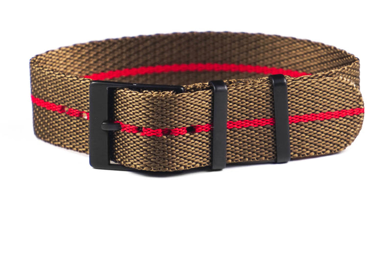 Adjustable PVD Single Pass Strap Khaki and Red